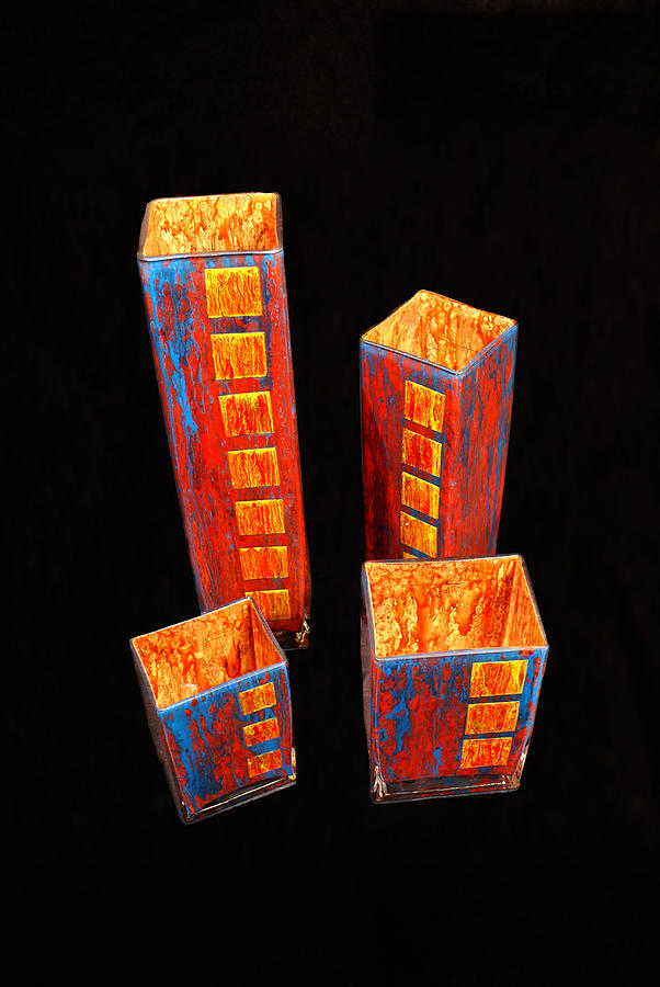 Hand Painted Glass Set of Four Reds by Christopher Schranck