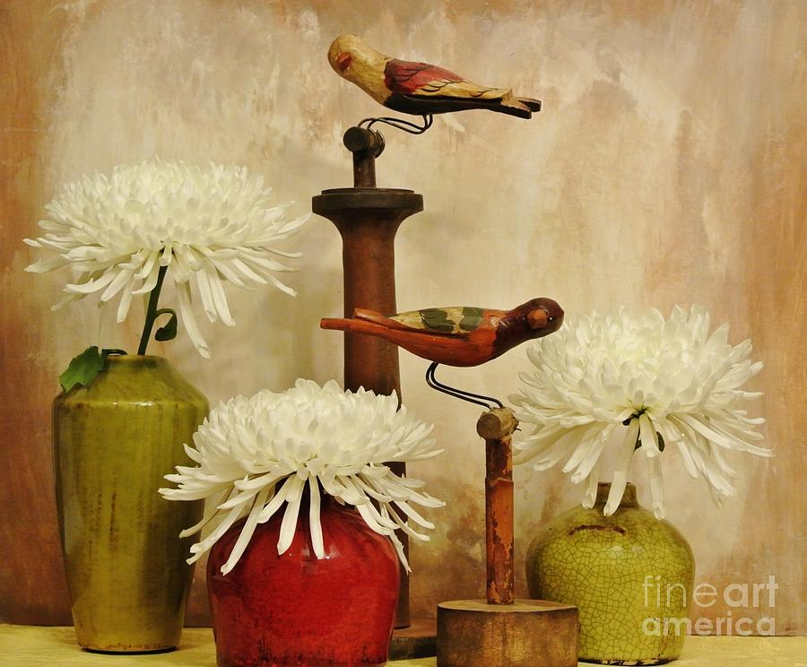 Photo Photograph - Hand Painted Wooden Birds With Mums by Marsha Heiken