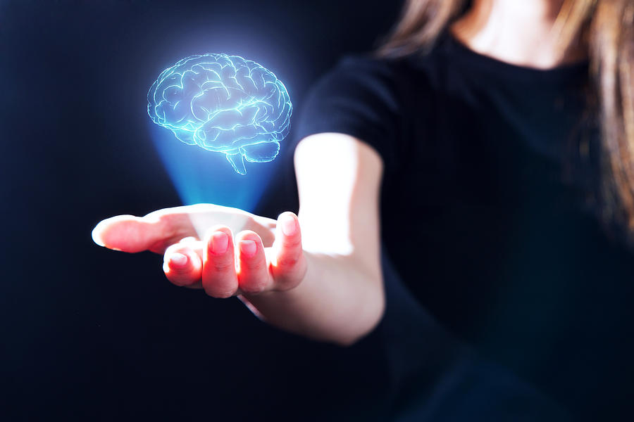 Hand showing a brain hologram Photograph by Yuichiro Chino