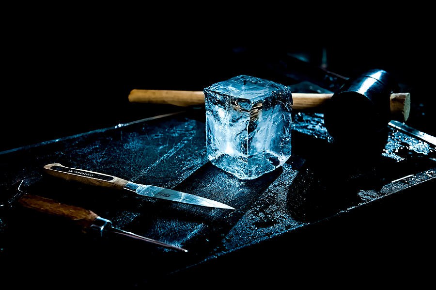 Ice Photograph - Handcrafted Icecube by Wolfgang Simm