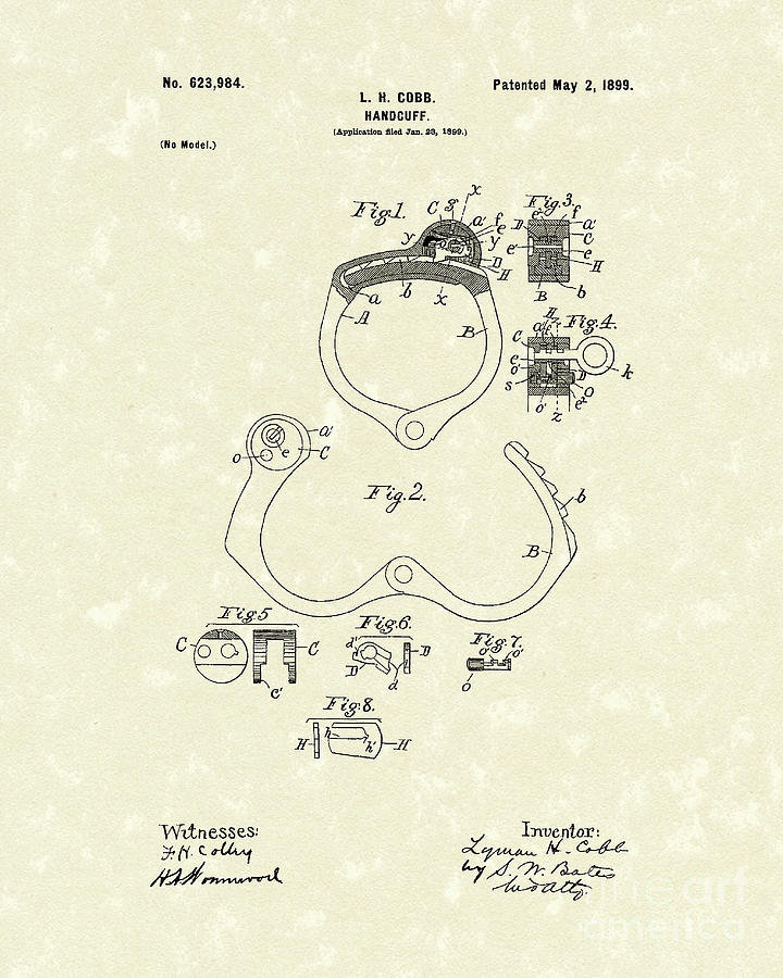 Cobb Drawing - Handcuff 1899 Patent Art by Prior Art Design