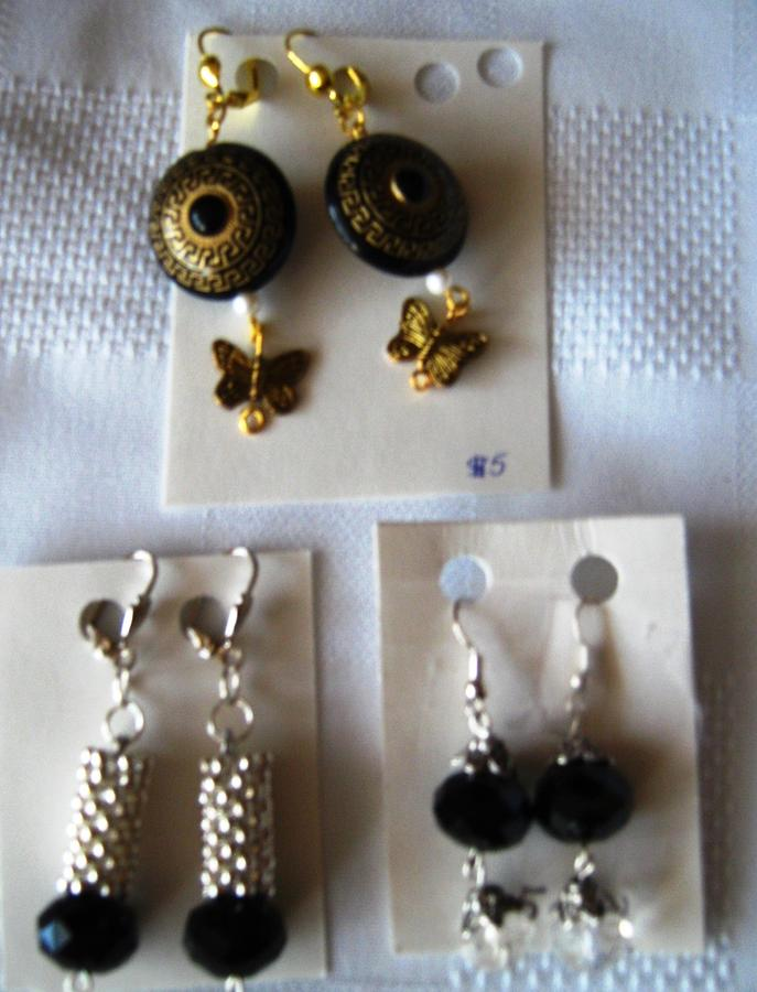 Black And Gold Earrings With Butterfly Hangings Jewelry - Handmade Earrngs by Fatima Pardhan