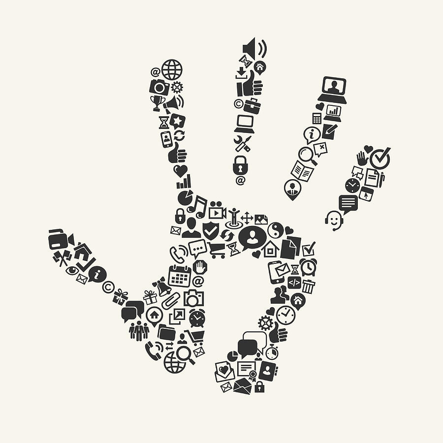 Handprint With Icons On Background