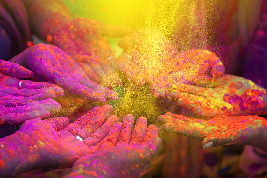 Hands And Colorful Powders Of The Holi Festival Photograph by Mammuth
