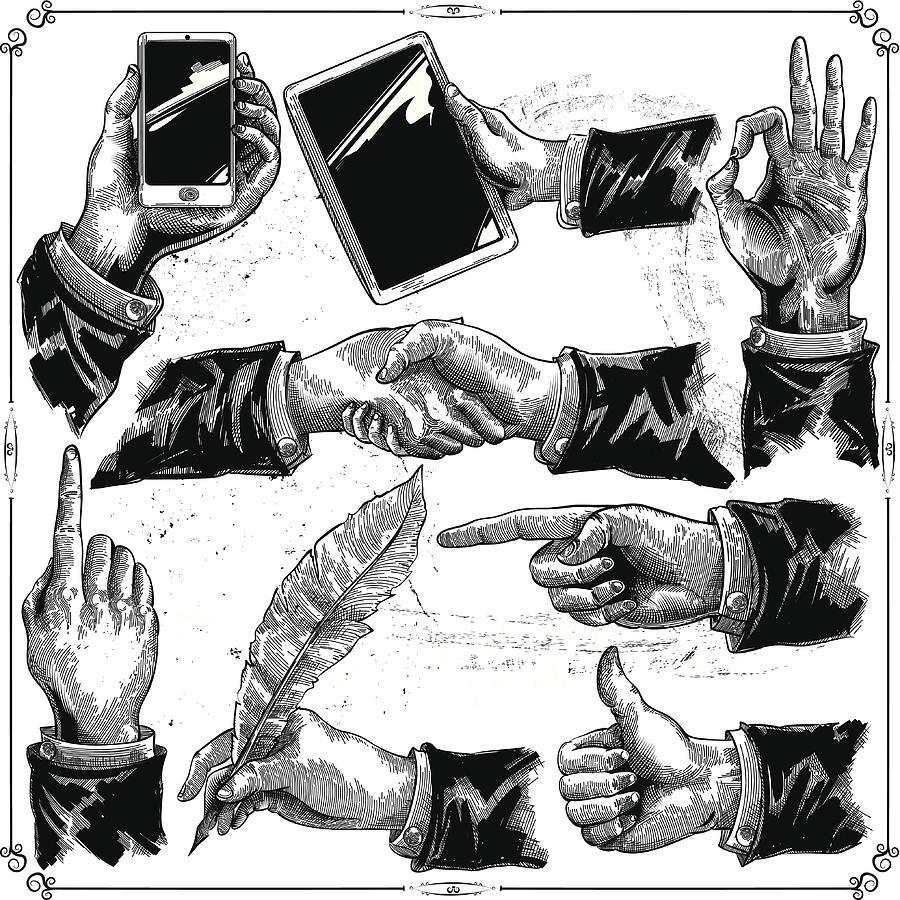 Hands set Drawing by Man_Half-tube