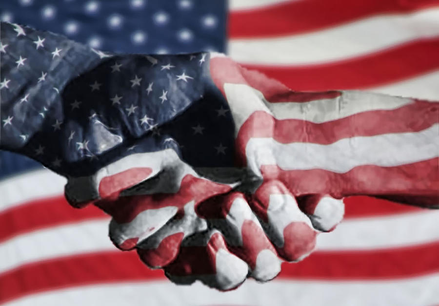 People Photograph - Handshake Melded With American Flag by Sherry H. Bowen Photography