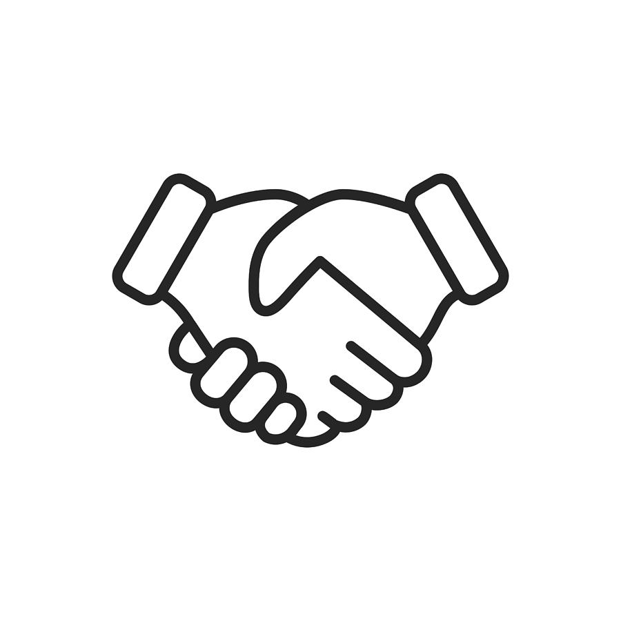 Handshake Thin Line Vector Icon. Editable Stroke. Pixel Perfect. For Mobile and Web. Drawing by Rambo182