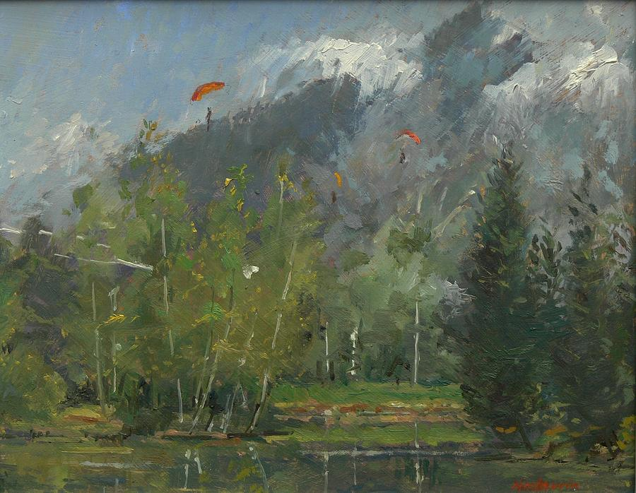 Glider Photograph - Hang Gliders At Chamonix, 2007 Oil On Canvas by Pat Maclaurin