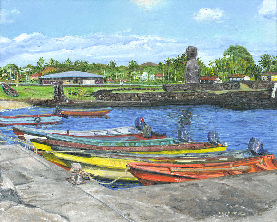 Easter Island Painting - Hanga Roa Harbour by Brent Charbonneau