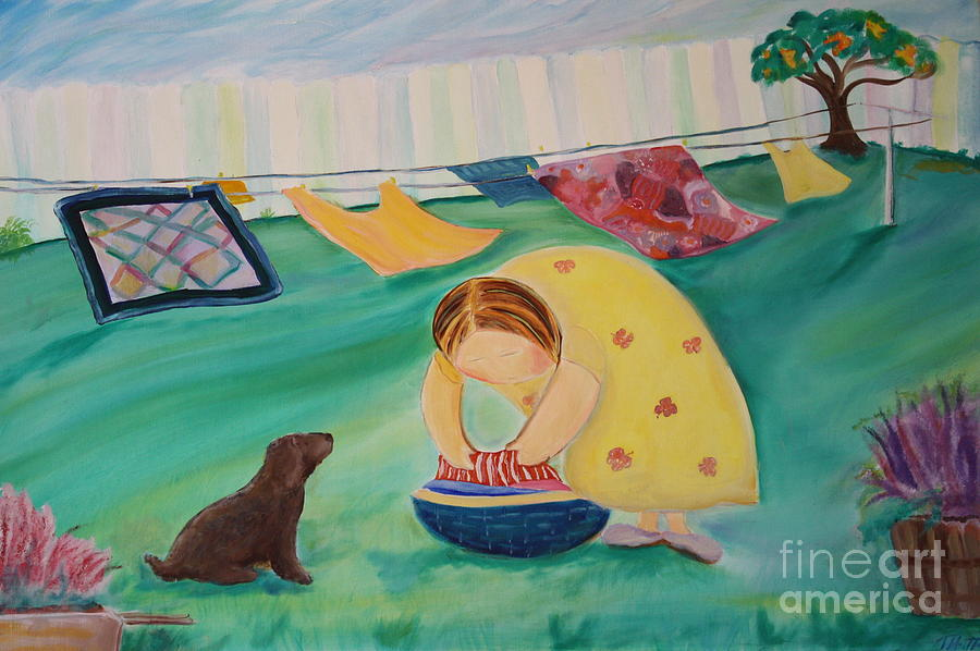 Landscape Painting - Hanging Laundry In The Summer Wind by Teresa Hutto