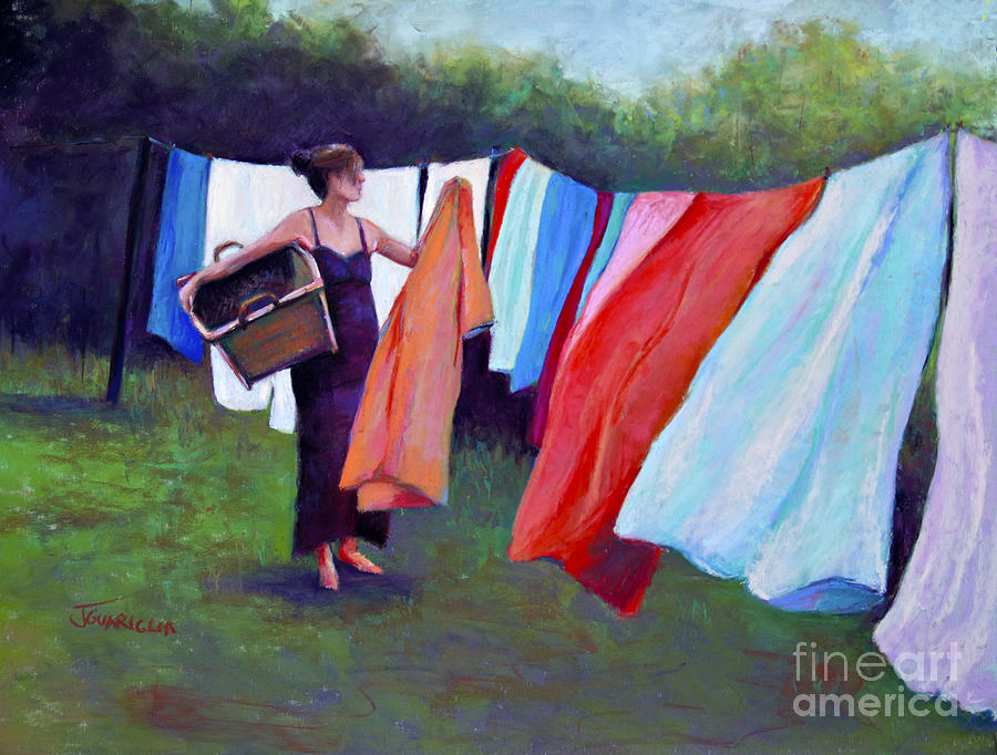 Laundry Pastel - Hanging Laundry by Joyce A Guariglia
