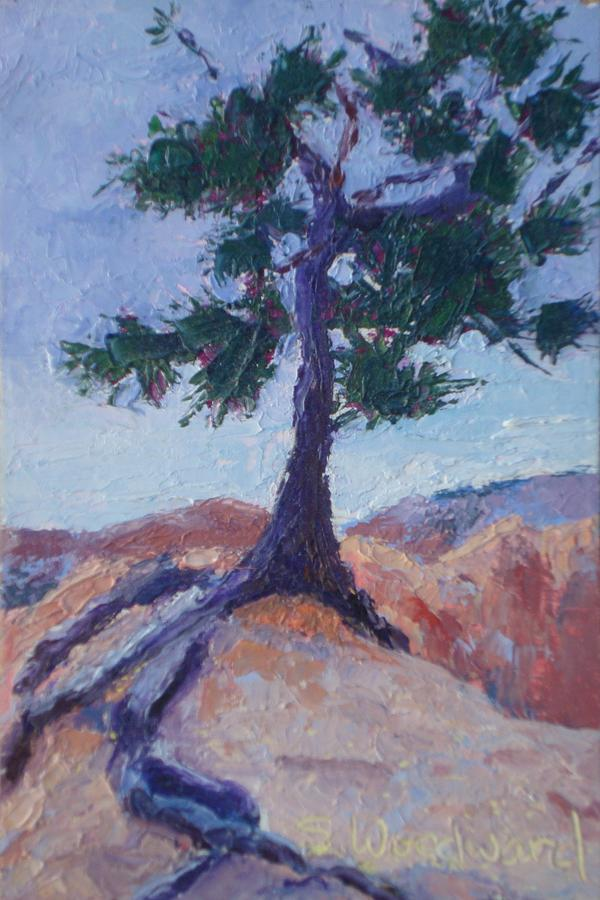 Tree Painting - Hanging On For Dear Life by Susan Woodward
