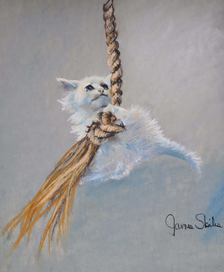 Cat Drawing Painting - Hanging On by James Skiles