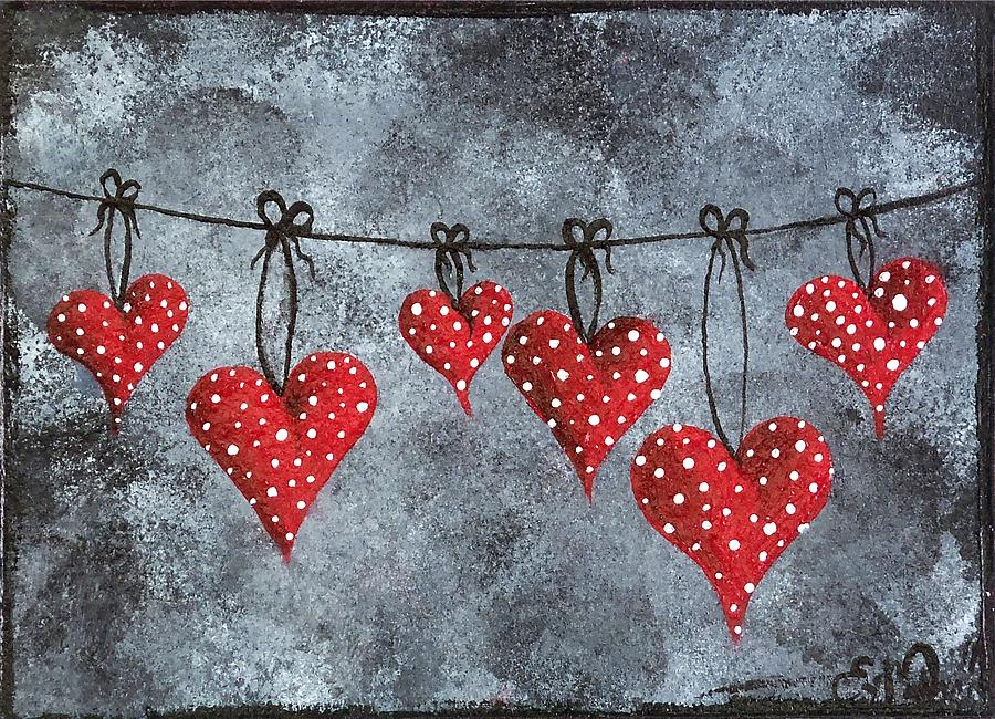 Heart Painting - Hanging On To Love by Oddball Art Co by Lizzy Love