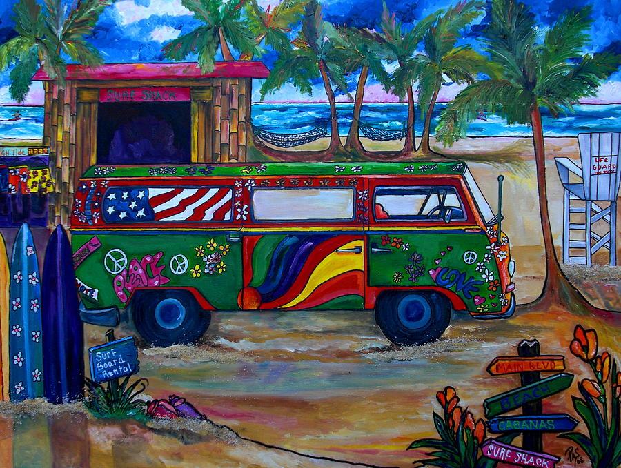 Beach Painting - Hanging Ten by Patti Schermerhorn