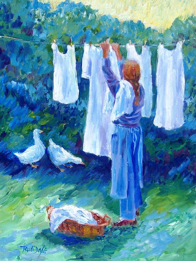 Wash Day Painting - Hanging The Whites  by Trudi Doyle