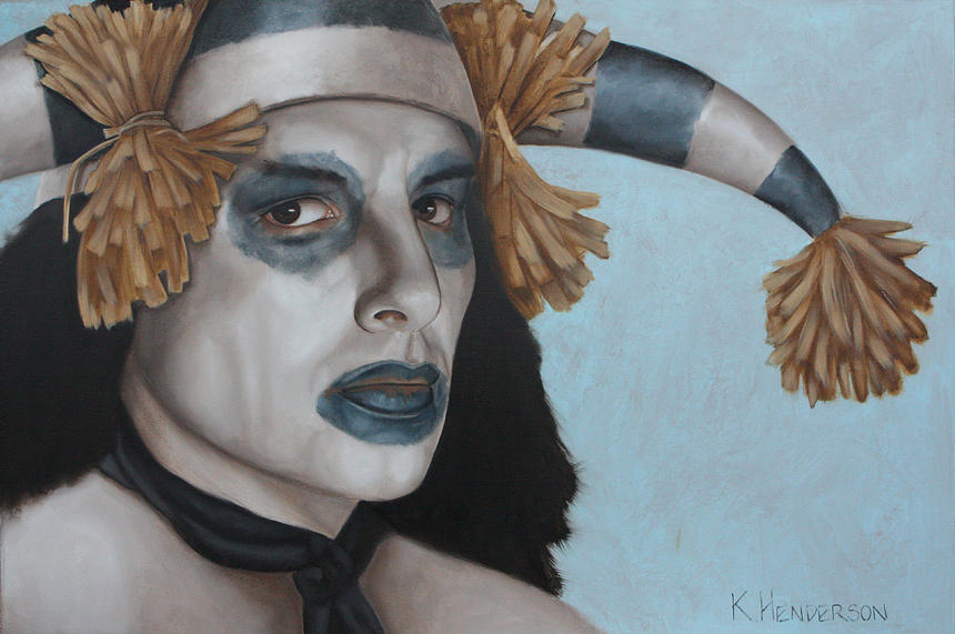 American Indian Painting - Hano Clown By K Henderson  by K Henderson
