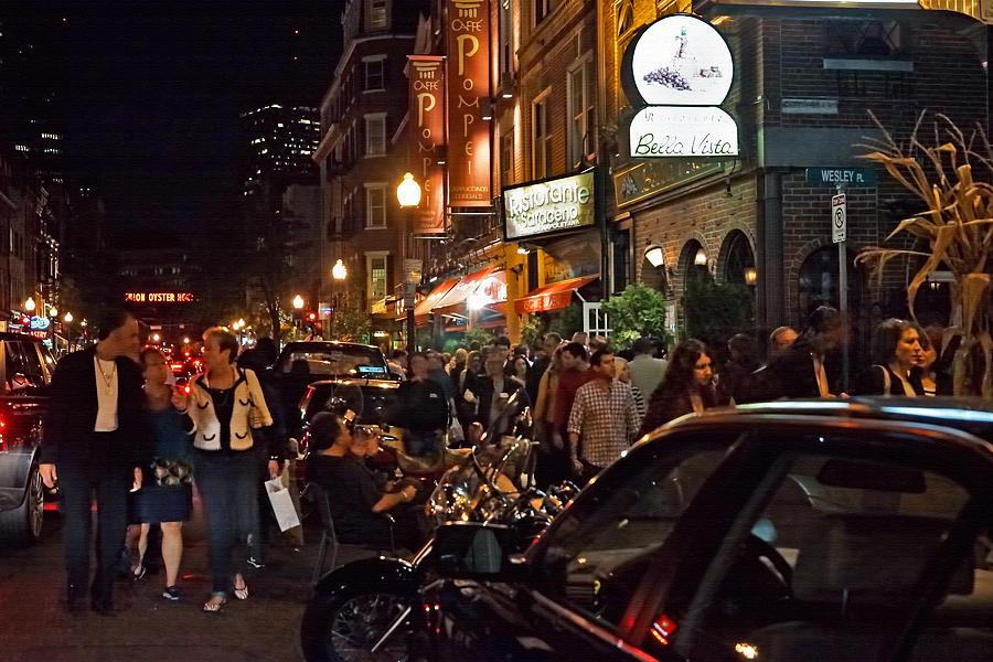 Boston Photograph - Hanover Street Nights - Boston by Joann Vitali