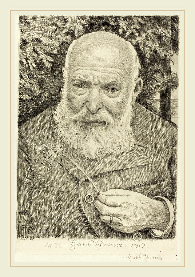 German Drawing - Hans Thoma, Self-portrait Vi With Flower by Litz Collection