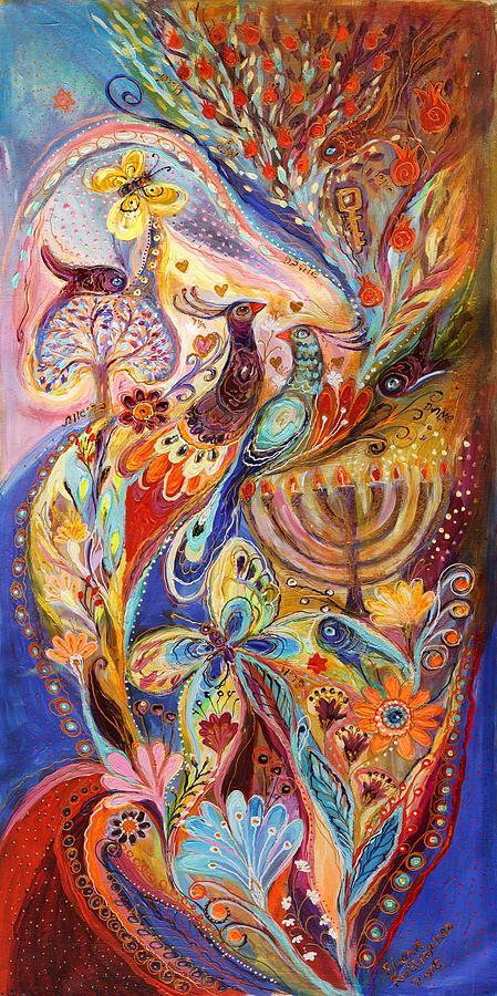 Judaica Store Painting - Hanukkah In Magic Garden by Elena Kotliarker