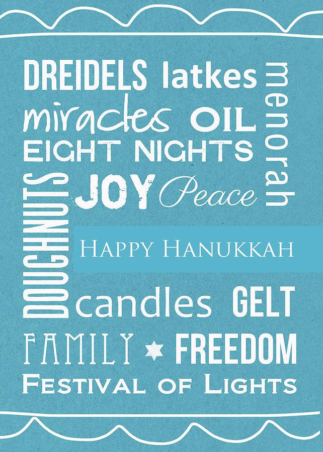 Hanukkah Words -greeting Card Digital Art