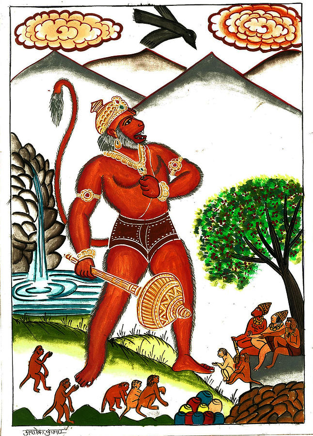 Indian Diety Painting - Hanuman by Ashok Kumar