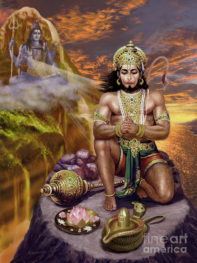 Hanuman Receives Lord Shiva's Blessings by Vishnudas Art