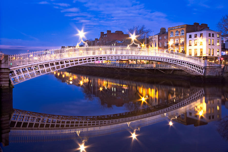 Ha'penny Bridge Photograph - Hapenny Bridge Reflection at Night - Dublin by Barry O Carroll