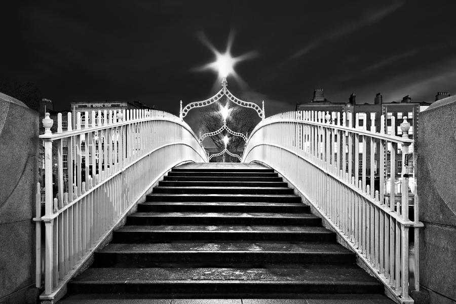 Hapenny bridge photograph hapenny bridge steps dublin black and white by