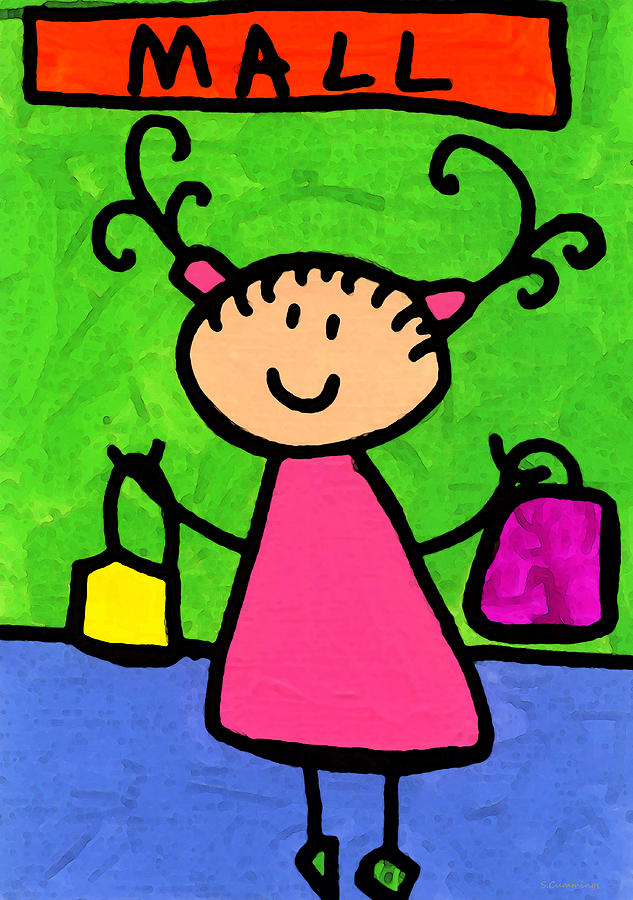 Childlike Painting - Happi Arti 5 - Shopaholic Little Girl Art by Sharon Cummings