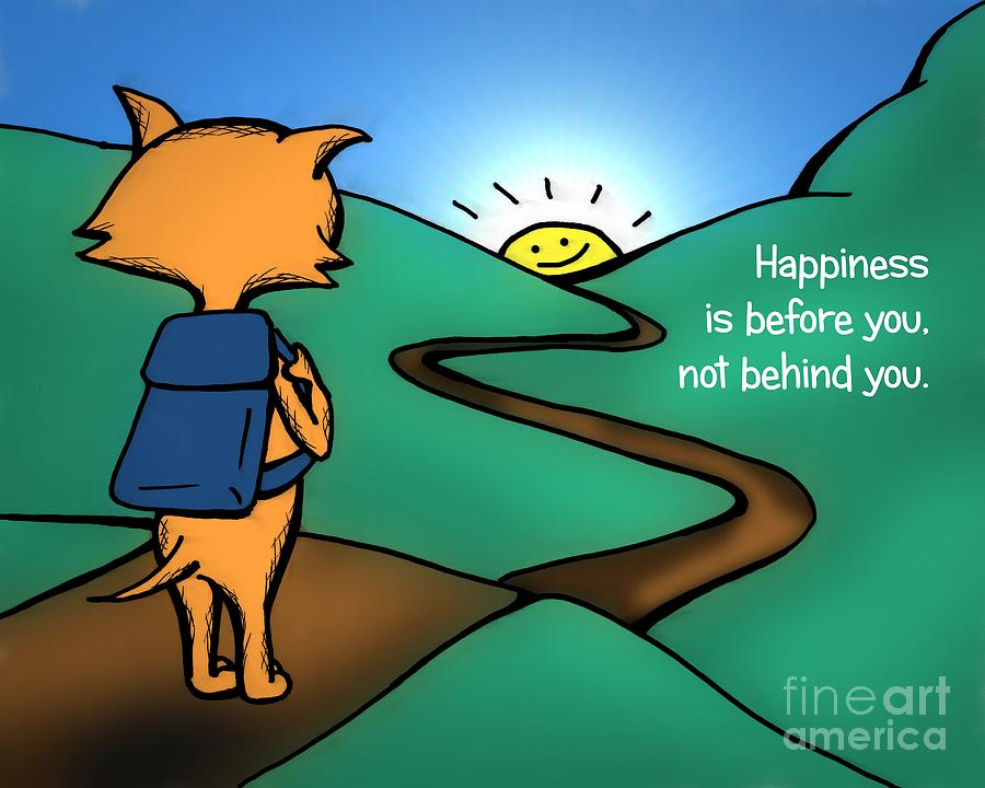 Cat Drawing - Happiness Is Before You by Pet Serrano