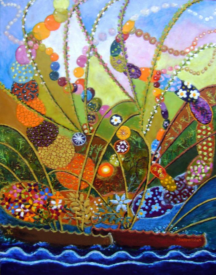 Encaustic Painting - Happiness by Maria Varga-Hansen