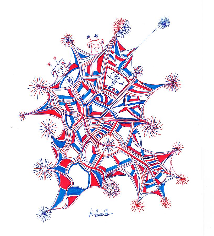 Happy 4th Of July Drawing by Vic Pascarella