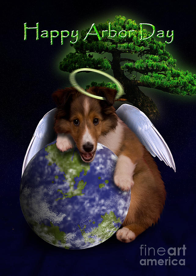 Happy Arbor Day Digital Art - Happy Arbor Day Angel Sheltie by Jeanette K