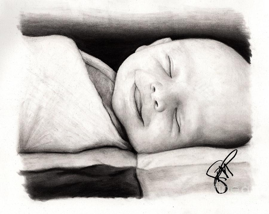 Baby Drawing - Happy Baby by Rosalinda Markle
