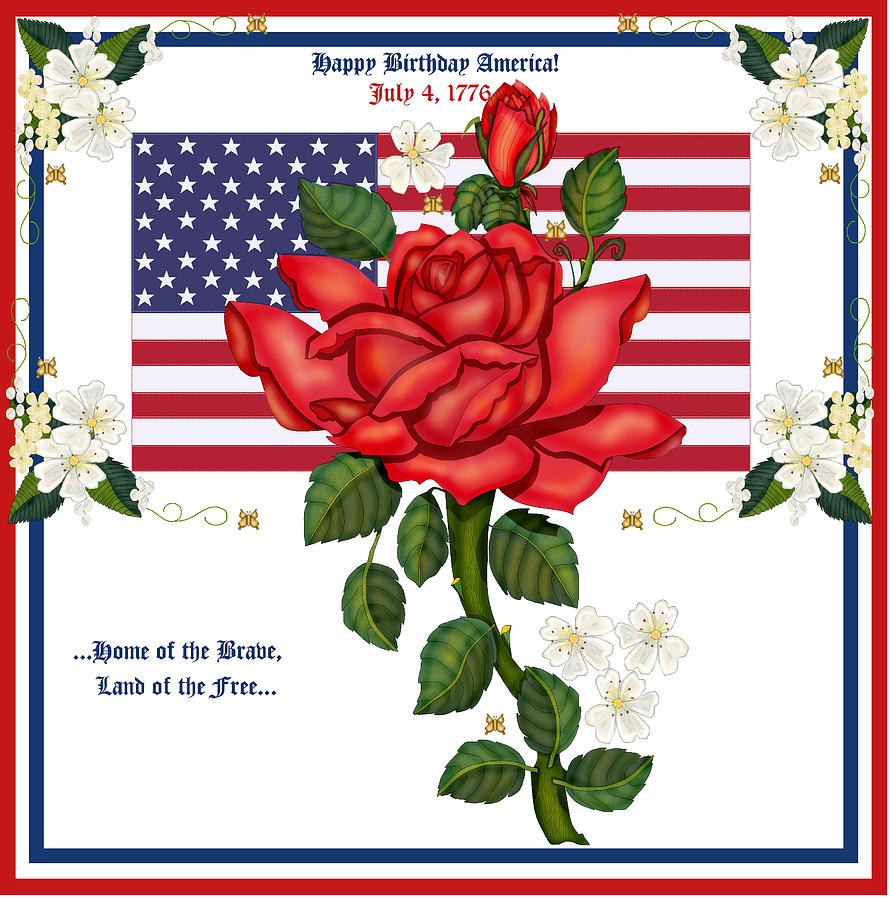 Red Roses Painting - Happy Birthday America by Anne Norskog