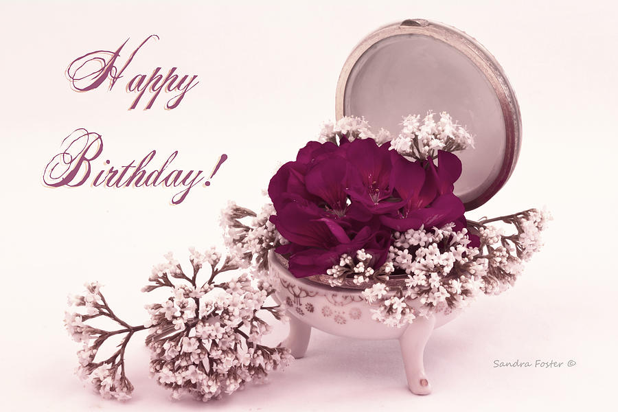 Vintage Flowers Birthday Cards ~ Happy birthday card pink geranium in vintage dish photograph by