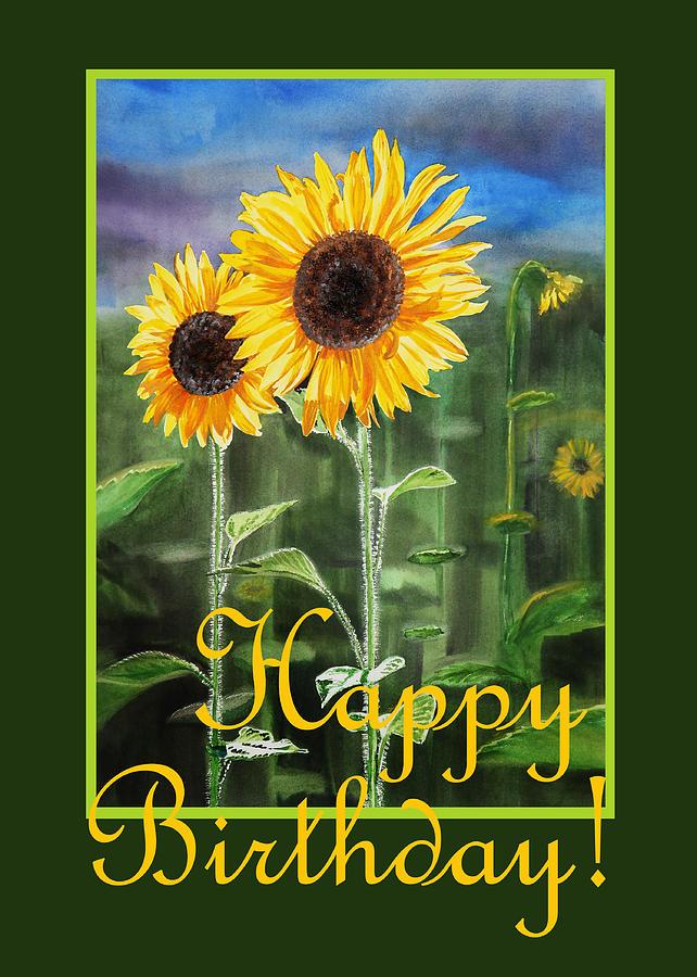 Happy Birthday Happy Sunflowers Couple Painting by Irina ...