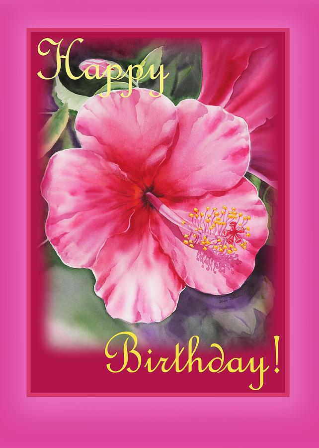 Hibiscus Painting - Happy Birthday Hibiscus  by Irina Sztukowski