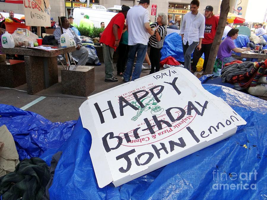 Occupy Wall Street Photograph - Happy Birthday John Lennon by Ed Weidman