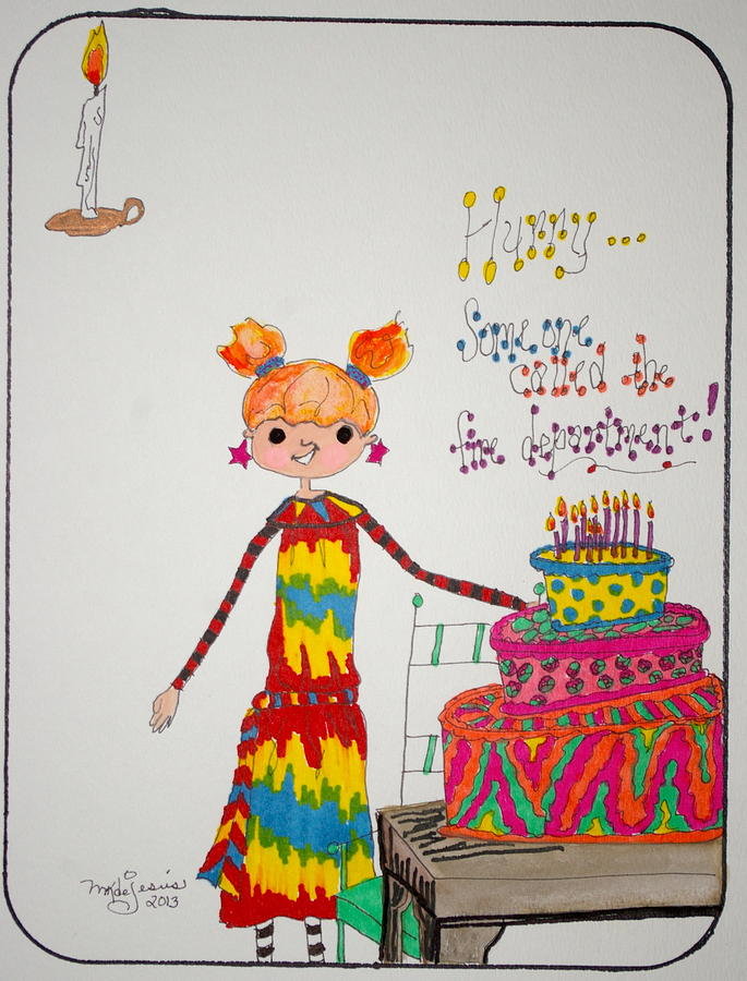 Birthday Drawing - Happy Birthday by Mary Kay De Jesus