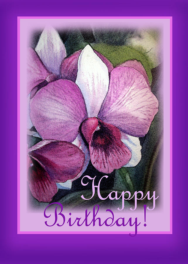 Happy Birthday Orchid Design Painting