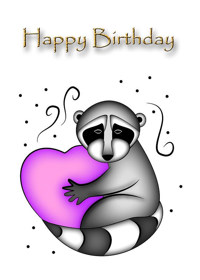 Happy Birthday Digital Art - Happy Birthday Raccoon by Jeanette K