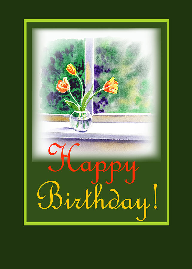 Happy Birthday Painting - Happy Birthday Tulip Bunch by Irina Sztukowski