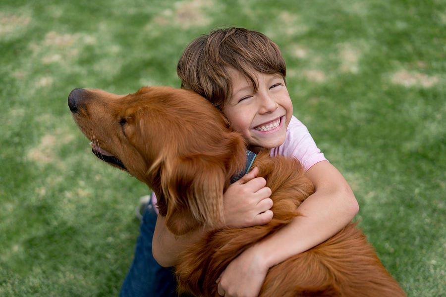 Happy Boy With A Beautiful Dog Photograph by Andresr