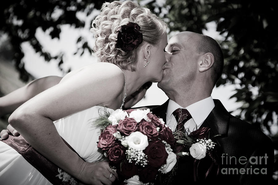 Bride Photograph - Happy Bride And Groom Kissing by Michal Bednarek