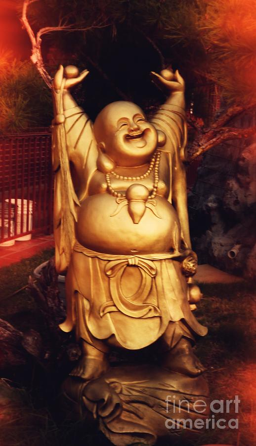Adult Photograph - Happy Buddha by Angela Wright