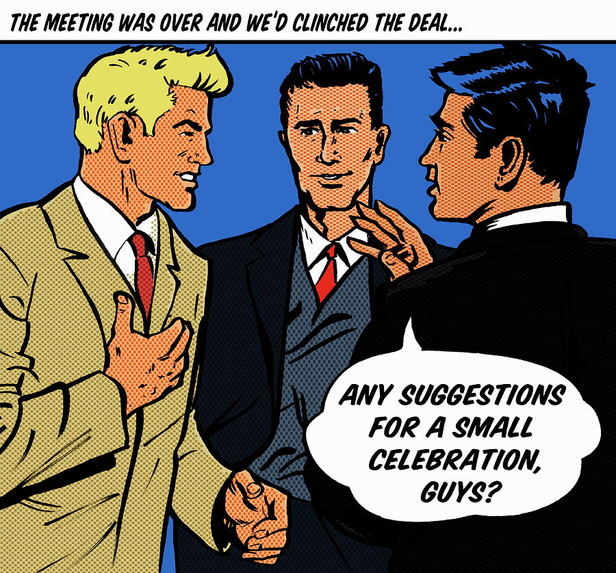 Happy Businessmen With Speech Bubble Digital Art by Jacquie Boyd