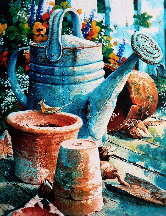 Watering Can Painting - Happy Chores by Hanne Lore Koehler