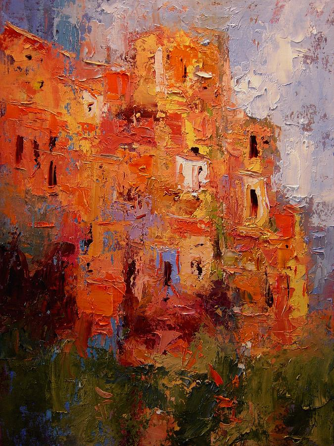 Corniglia Painting - Happy Corniglia by R W Goetting